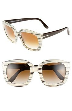 { Stripped Ivory One Size Sunglasses }
