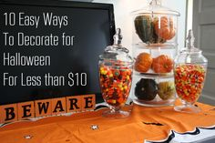 10 easy ways to decorate for Halloween for less than 10 dollars.