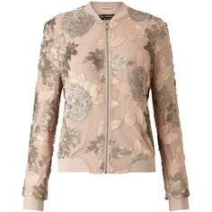 Miss Selfridge Blush Sequin Detail Bomber. (€110) ❤ liked on Polyvore featuring outerwear, jackets, coats & jackets, coats, miss selfridge, pale pink, bomber style jacket, pink jacket, pink sequin jacket and bomber jacket