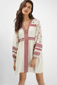 Add a dose of boho to your look with this Grecian embroidered smock dress. Featuring a floaty fit and long sleeves, we'd style this dress with a cross body bag and black ankle boots for a casual finish. #Topshop
