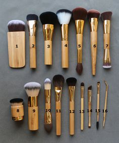 Tarte Make Up Brush Set Flat Bottom Bamboo Handles