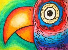 Parrot - Easy Peasy Art School Art Lessons For Kids, Art Activities For Kids, Art For Kids, Educational Activities, Chalk Pastel Art, Oil Pastel Art, Chalk Art, Primary School Art, Art School