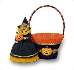Blumchen & Company, The Best of Christmas Past, also features wonderful, old fashioned Easter, Valentine and Halloween decorations Halloween Party Favors, Halloween Trick Or Treat, Spooky Halloween, Halloween Treats, Vintage Halloween, Happy Halloween, Halloween Decorations, The Best Of Christmas, Halloween Baskets