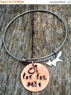 Oh For Fox Sake, Funny Bracelets, Copper Jewelry, Novelty, Bangle, Hand Stamped Gifts, Snarky Sassy Humor, Love Foxes, Best Friends, BFFS