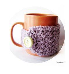 Crochet coffee cup cozy lilac mug cozy purple cup cozy di Akamatra, $9.50