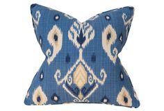 Ikat Seaport 22x22 Pillow, Blue