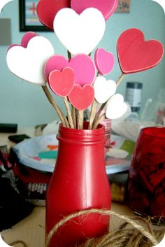 super simple centerpiece or great addition to a valentines mantel