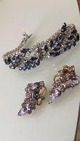 Vintage Kramer Rhinestone BLUE AND CLEAR Bracelet/ CLIP ON EARRINGS