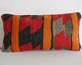 throw pillow orange embroidery kilim Pillow Decorative Throw Pillow kilim cushion lumbar pillow kilim rug turkish cushion accent toss sham
