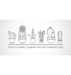 Linear design potted flowers elements of a vector - by Leyasw on VectorStock®