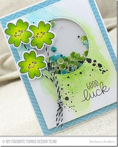 Good Luck–MFT's February Creative Construction With Blueprints St Patricks Day Cards, Good Luck Cards, Mft Stamps, Luck Of The Irish, Pop Up Cards, Card Designs, Creative Cards, Handmade Cards, Cardmaking