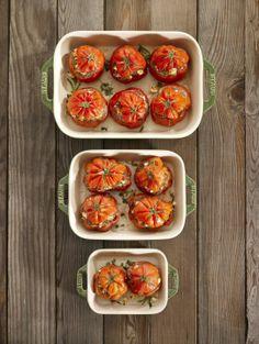 Roasted and stuffed tomatoes in Staub Ceramic Rectangular Dishes, Basil