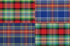Set seamless pattern Scottish tartan Graphics Set four seamless pattern Scottish tartan, blue and green, yellow and red Vector outline illustr by kavalenkava