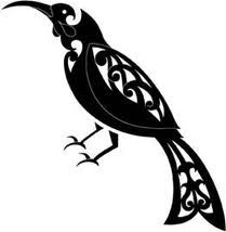 Huia bird- the prized bird of the Maori warrior.New Zealand. Maori Tattoos, Ta Moko Tattoo, Marquesan Tattoos, Sleeve Tattoos, Maori Designs, Tattoo Designs, Tattoo Ideas, Doodles Zentangles, Kirigami