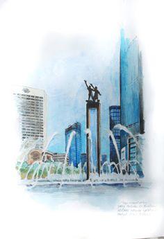 jatmika sketch & drawing: Patung selamat datang, Bundaran HI Pencil Drawing Tutorials, Pencil Drawings, Sketch Drawing, Sketching, Jakarta City, Joker Iphone Wallpaper, Aesthetic Wallpapers, Character Art, Watercolor Paintings
