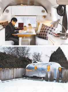 Airstream office example from ReadyMade magazine. Airstream Renovation, Airstream Interior, Vintage Airstream, Vintage Caravans, Vintage Travel Trailers, Vintage Campers, Small Tiny House, Tiny House Living, Rv Living