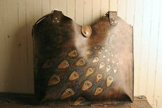 Leather Tote -Turquoise gold and antique black - Peacock Pattern. $329,00, via Etsy.