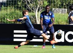 Mario Balotelli and Claudio Marchisio of Italy during a training..