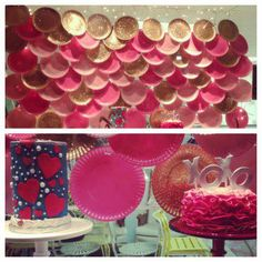 Pink and Gold Plates for a cute valentine's day window display! - do blue for water! or scales!