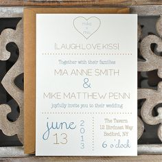 Wedding Invitations . Wedding Invites . Rustic Wedding Invitations . Heart Wedding Invitations - You & Me Heart