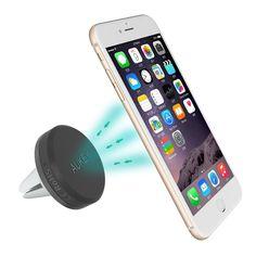 Aukey Air magnético para coche Soporte de smartphone para iPhone 6 / 6 Plus / 5 / 5S / 5C / 4 / 4S, Samsung Galaxy S6 / S5 / S4 / Note 4/3, Google Nexus, LG G3 y dispositivo GPS