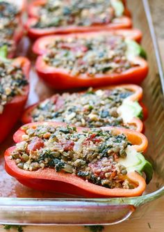 Mediterranean Quinoa Stuffed Peppers- made with lentils, spinach and fresh drill. Perfect for a light and healthy dinner!