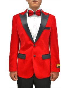Everyone's got a little Hugh in them. So here's your change to let him out. This smoking jacket comes in a gorgeous red velvet fabric, with a full black satin peak lapel. It's a modern fit, with side vents, and black satin trim on the pockets.  #BlackJacket #RedJacket  #WeddingJacket #PromTux #WeddingTux #Tux #Wedding #Prom #DinnerJacket #Jacket Red Blazer, Velvet Blazer, Velvet Jacket, Mens Dinner Jacket, Velvet Dinner Jacket, All Black Tux, Black Suits, Red Tuxedo, Tuxedo For Men