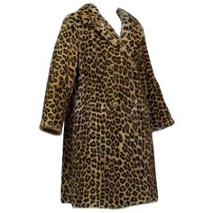 Genuine Leopard-Stenciled Mink Fur A-Line Stroller Coat - S-M, For Sale at Fur Puffer Coat, Leopard Fur Coat, Opera Coat, Collar Tips, Vintage Fur, Double Breasted Coat, Mink Fur, Fur Jacket, A Line Skirts