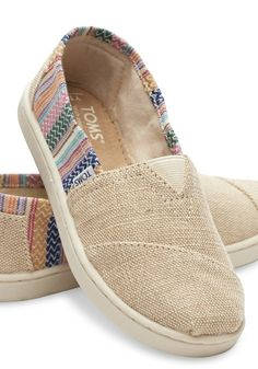 Brighten up your little one's day with these burlap TOMS slip-ons.
