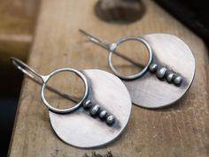 Dangle earrings, Sterling silver earrings, Silversmith earrings, Handmade , Boho earrings, Circle earrings, Contemporary earring, Artisan