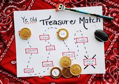 @Rachelle Tucker - saw you were looking at Pirate Party stuff...  Match the words on the gold coin treasure with the words on the treasure map