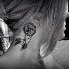 Inviting Dream Catcher Neck Tattoo for Female | Tattoomagz.com › Tattoo Designs / Ink-Works Gallery › Tattoo Designs / Ink Works / Body Arts Gallery