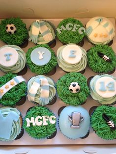 Manchester City Cupcakes - Totally need to make these for his birthday!