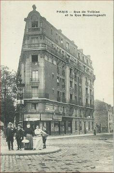 L'angle de la rue Boussingault (à droite) et la rue de Tolbiac, vers 1905 (Paris 75013)