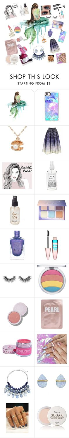"""""""Mermaid Monday"""" by kookie-cat ❤ liked on Polyvore featuring Casetify, Herbivore, Olivine, Anastasia Beverly Hills, Maybelline, Velour Lashes, Melissa Joy Manning and Fresh"""