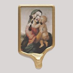 "Francesco Vezzoli: ""I like life spent, in good or bad, doing something significant. Perhaps the only thing I fear is boredom."" [Francesco Vezzoli, Crying Portrait of Tatjana Patitz as a Renaissance Madonna with Holy Child (After Raffaello), 2010, Inkjet print on canvas, cotton and metallic embroidery, fabric, custom jewelry, watercolor, make-up & artist's frame, 93 x 53 x 6 in. (236.22 x 134.62 x 15.24 cm)]"