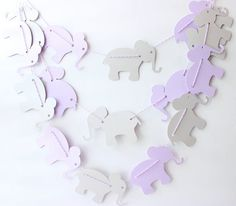 Elephant Garland on Twine. Each adorable large paper elephant is 4 inches from tail to end of trunk (please see image 2 for sizing on a ruler).
