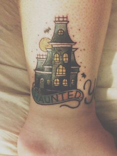 Haunted House tattoo...looks like the Addams Family house. I love this!!
