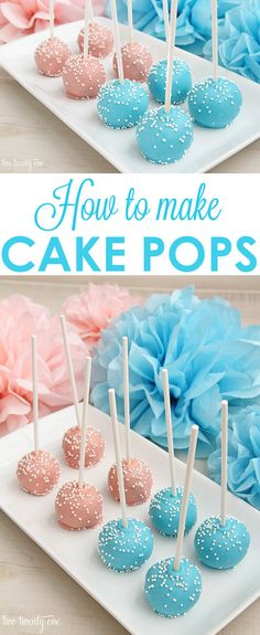 How to make cake pops! LOVE these tips and tricks to get the perfect cake pops! Baby Gender Reveal Party, Gender Party, Gender Reveal Food, Baby Reveal Cakes, Gender Reveal Cupcakes, Cake Pops How To Make, How To Make Cakepops, Cake Pop Diy, Cake Pop Molds