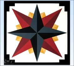 Charcoal Mariner's Compass Barn Quilt  - 2 foot square - Product Image