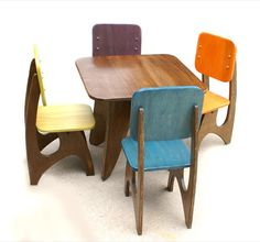 Modern Child Table set - 4 Chair option  #table #chairs #kids