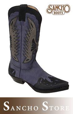 537f41438b13e9 Sancho Boots 5119 Deep Blue - Blauer Westernstiefel Cowboy Boots