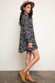 Floral Trapeze Dress - Black
