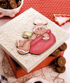 Caixa de biscoitos craquelada com motivo de ginger bread / DIY, Craft, Upcycle