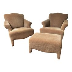 1990s Vintage John Hutton Style Club Chairs Pair | Chairish Vintage Furniture, Home Furniture, Furniture Design, Furniture Chairs, Used Furniture For Sale, Chair And Ottoman, Club Chairs, Transitional Style, 1990s