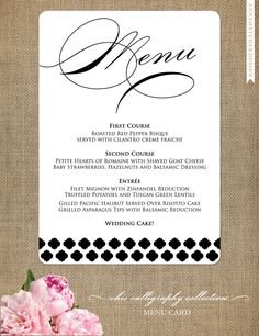 Wedding Menu Card - Chic Calligraphy Wedding Collection - Custom Dinner Menu Card - Personalize for your wedding. $15.00, via Etsy.
