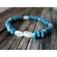 Gemstone Stack Bracelet - Larimar Blue Crazy Lace Angel Hair Rutile Quartz - Tourmalinated Quartz - Blue - Stackable Stretch