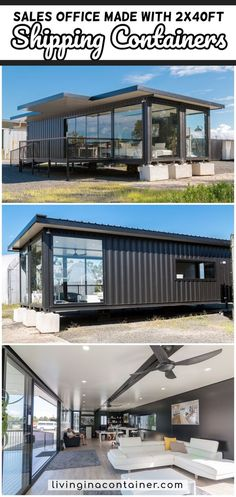 There are many versions of this sales office built. Based on shippings containers, large deck and ramp with insulated roofing panels over containers and deck area. Shipping Container Home Designs, Shipping Container House Plans, Container House Design, Tiny House Design, Shipping Containers, Building A Container Home, Container Buildings, Container Architecture, Sustainable Architecture