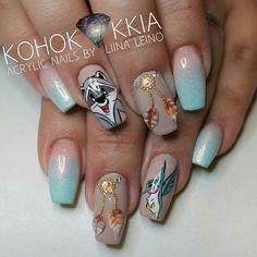 These nail arts will delight all Disney fans Nail art Pocahontas par - Nail Designs Disney Acrylic Nails, Best Acrylic Nails, Acrylic Nail Designs, Nail Art Designs, Fan Nails, Dope Nails, Disney Princess Nails, Disney Nail Designs, Nail Decorations