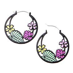 Black Flower Garden Tunnel Hoop Earrings #Blackline #Hinged #Pair